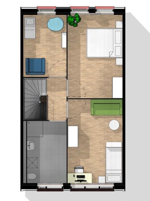 Kameleonwoningen - 1e verdieping - 3kamer indeling